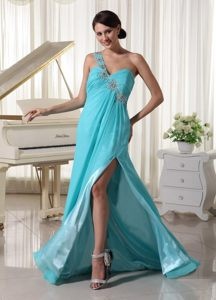 Low Price Beaded one Shoulder Slitted Turquoise Prom Dress