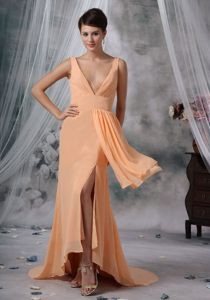 Empire V-neck Slitted Light Orange Prom Dress in Gloucestershire