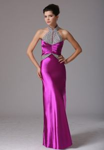 High Quality Beaded Halter Top Fuchsia Prom Dress in Norfolk