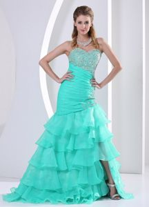 Mermaid Ruffled Layers Beaded Aquamarine Prom Dresses