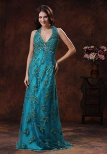 Hot Sale Brush Train Halter Top Appliqued Turquoise Prom Dress