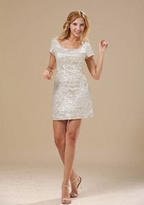 Scoop Neck Short Sleeves Sequins White Mini-Length Prom Dress
