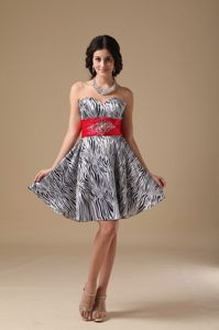 White and Black Zebra Print Sweetheart Short Prom Party Dress