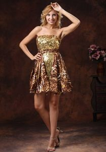 Strapless Gold Sequins Dress for Prom with Animal Print Sash