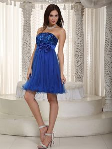 Royal Blue Organza and Sequin Short Prom Dresses with Bowknot