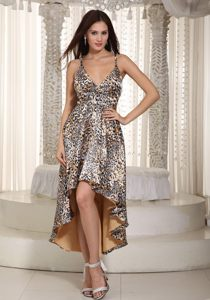 Multi-Color Straps Leopard Print High-low Prom Dress for Women