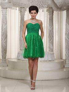 Sequins Ruched Green Mini Prom Dress for Girls in Derbyshire