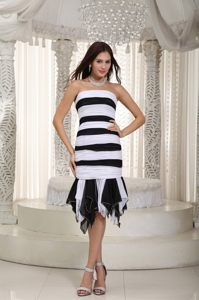 Chiffon White and Black Striped Ruched Prom Homecoming Dress