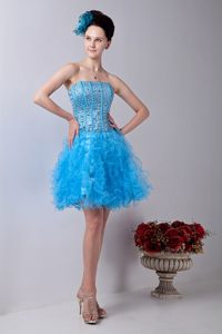 Ruffled Organza Strapless Beading Mini-length Baby Blue Prom Dress