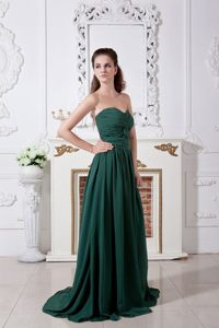 Ruched Dark Green Chiffon Prom Evening Dresses with Brush Train