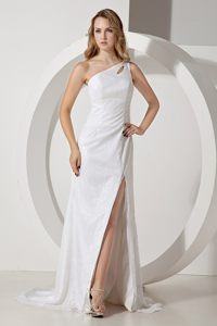 Brush Train one Shoulder Slitted White Sequins Prom Party Dress