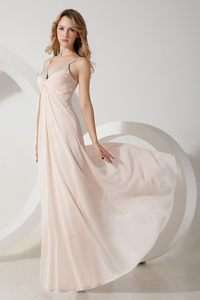 Pink v Neck Floor Length Prom Evening Dress with Beading 2014