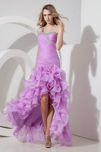 Lovely one Shoulder High-low Lavender Prom Dress with Ruffles