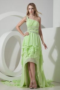 Special High-low Ruffled Yellow Green Prom Dress one Shoulder