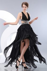 Sexy V-neck High-low Black Dress for Prom with Crisscross Back