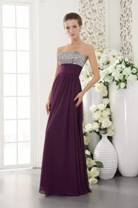 Pacifica CA Dark Purple Long Prom Evening Dresses with Beading