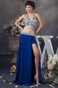 Blue Halter Top Rhinestones Slitted Prom Dress with Sheer Waist