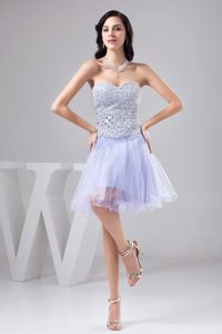 Full Beaded Bodice Lilac Organza Dresses for Prom Princess 2014