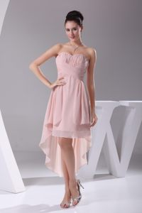 Pink Sweetheart High-low Chiffon Dresses for Prom Princess 2014