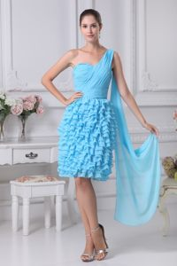 Ruched and Ruffled Aqua Blue Dresses for Prom Princess One Shoulder
