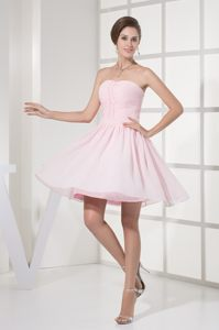 Light Pink Strapless Dresses for Prom Princess with Beading Ruches