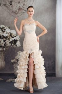 Brand New Champagne Sweetheart Ruffled Layers Dress for Prom