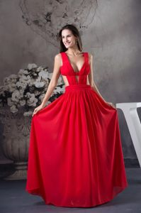 2014 Sexy Chiffon V-neck Red Prom Party Dress with Cutouts