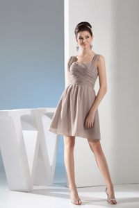 Straps Ruched Gray Chiffon Mini Dresses for Prom Princess on Sale