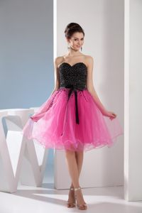 Beading and Sash Accent Organza Senior Prom in Hot Pink and Black