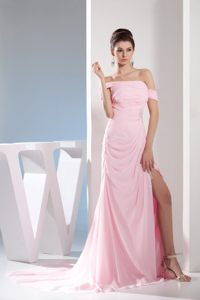 Off The Shoulder Chiffon Light Pink Prom Dress Court Train