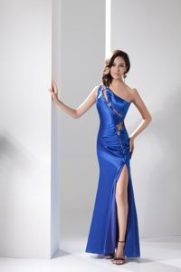 Sheath one Shoulder Side Zipper Beaded Prom Dress with Cutouts