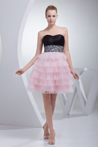 Beautiful Baby Pink and Black Ruffled Mini Prom Evening Dress