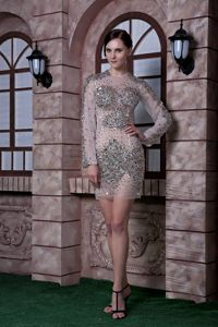 2014 Scoop Neck Sheer White Mini Prom Dress with Rhinestones