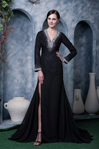 Special Long Sleeves V-neck Backless Black Dress for Prom