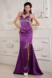Halter Top High Slit Dresses for Prom Night Beading with the Back out