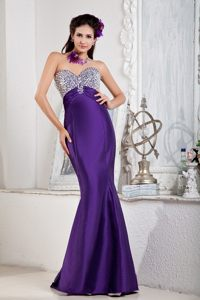 Beaded Mermaid Prom Party Dresses Floor-length Strapless in Purple