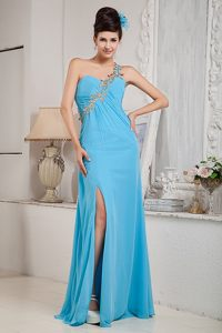 Beaded One Shoulder Prom Graduation Dresses with Slit on the Side