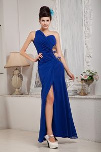 Modest High Slit Prom Court Dresses One Shoulder with Cut out Straps