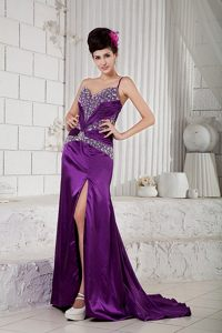 One Shoulder High Slit Prom Cocktail Dress Beading with Brush Train