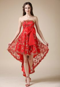 Cheap Dresses for Prom Princess Lace Decorated with Bow High-low