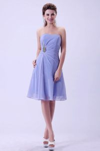Lilac A-line Prom Bridemaid Dress to Knee-length Made in Chiffon