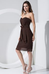 Brown Bow Prom Bridesmaid Dress Made in Chiffon to Knee-length