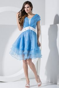 Baby Blue Short Sleeves V-neck Prom Dress With Embroidery and Ruching