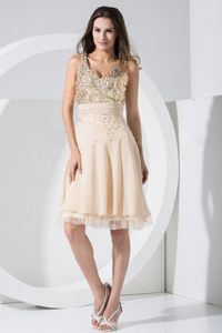 Champagne V-neck Prom Cocktail Dress With Sequin Bodice in Norfolk
