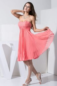 Beading and Pleating Watermelon Red Prom Homecoming Dress