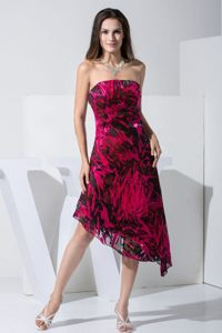 Colorful Printed Strapless 2013 Prom Dress with Asymmetrical Hemline