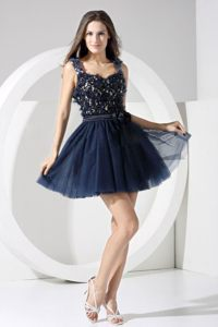 Lace Bodice Mini Prom Pageant Dress in Navy Blue with Backless