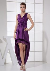 Straps Forming V-neck Purple For High-low Prom Graduation Dress