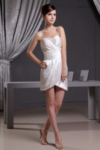 Short Sweetheart Ruching White Prom Dress for Custom Made