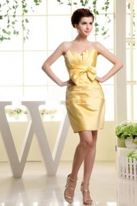 2013 Gold Strapless Bow Accented Dress for Prom in Mini-length